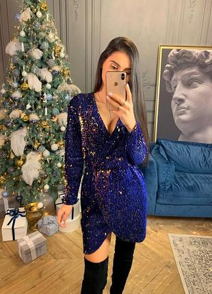 Вечернее нарядное платье в пайетках в синем цвете