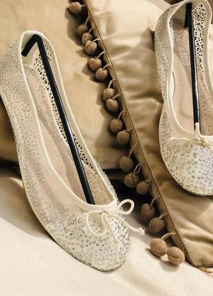Нежные балетки лодочки со стразами/распродажа