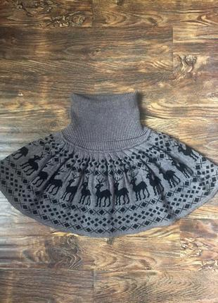 Зимняя теплая юбка в оленях