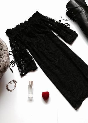 Кружевное платье с открытыми плечами f&f