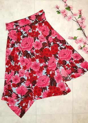 Крутая юбка миди zara с разрезом цветочный принт, завышеная посадка, размер 44 - 46