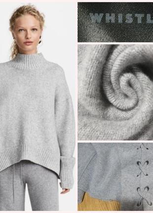 Фирменный стильный качественный натуральный шерстяной свитер гольф водолазка.