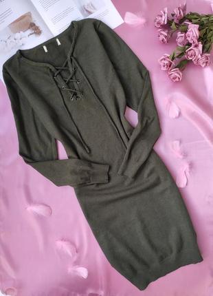 Тепленька мякенька сукня з зав'язками спереду зеленого кольору ♥️