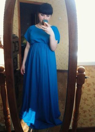 Платье в пол,синее