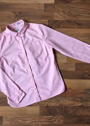 Коттоновая рубашка нежно-розового цвета в горошек размер m