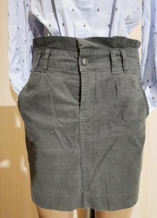 Вельветовая юбка высокая талия серая camaieu