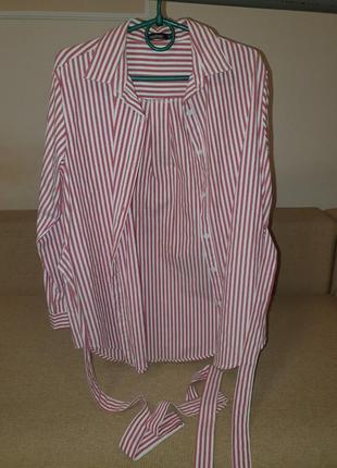 Рубашка в полоску удлинённая с поясом