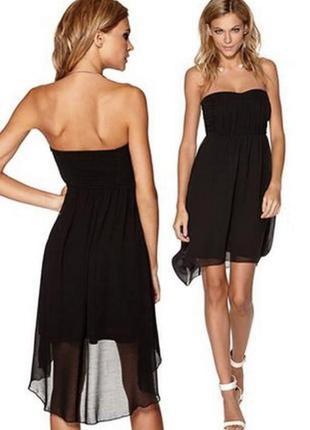 Брендовое черное вечернее шифоновое миди платье бюстье с удлиненной спинкой vila clothes