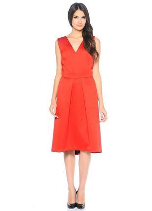 Брендовое красное вечернее нарядное миди платье на молнии yfl reserved этикетка
