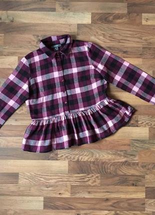 Стильная тепленькая рубашка в клетку цвет бордовый размер l