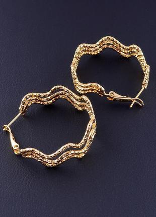 Серьги позолота 18к ювелирная бижутерия