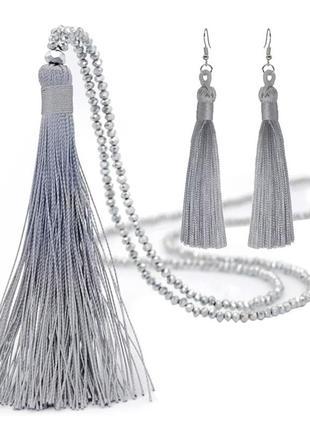 Набор ожерелье подвеска и серьги кисточки кисти с кристалами