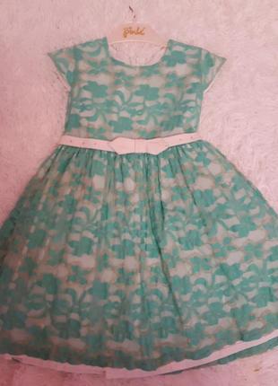 Гипюровое нарядное бирюзовое платье/ 110/ для девочки