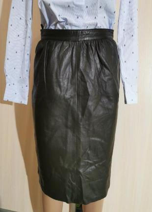 Натуральная кожа юбка миди португалия  чёрная