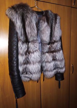 Кожаная куртка с чернобуркой, утеплена