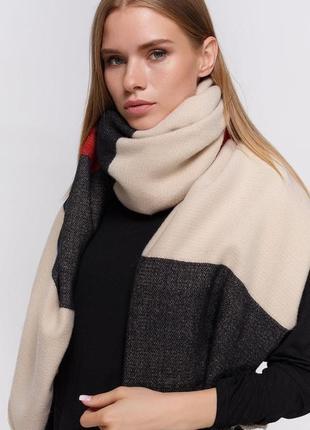 Шикарный огромный шарф палантин шаль плед чёрно бежево красный