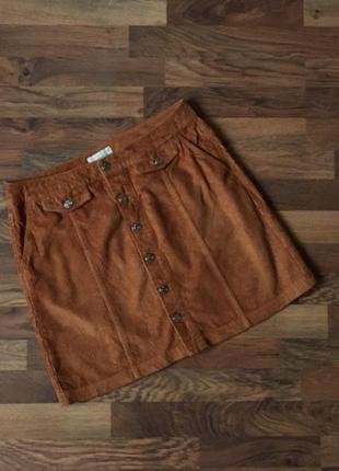 Стильная вельветовая коричневая юбка размер l