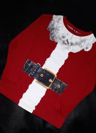 Кофта футболка лонгслив костюм на утренник на новый год дед мороз 3 года