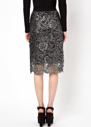 Шикарная кружевная юбка миди
