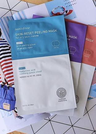 2х ступенчатые маски-пилинг от innisfree skin reset peeling mask
