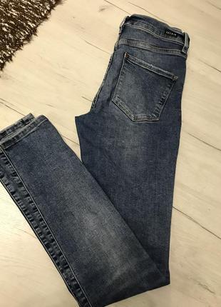 Синие тёплые котоновые джинсы скинни skinny h&m с высокой посадкой