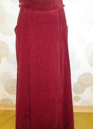 Винтажная  обалденная длинная  вельветовая  юбка цвета марсала viyella