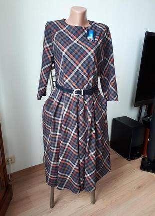 Новое с биркой платье сукня в клетку теплое офисное пояс в подарок