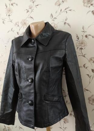 Кожаная женская курточка пиджак