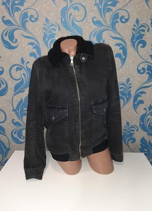 Крутая джинсовая курточка на меху. рукав 65 см 100% хлопок