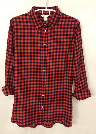 Женская рубашка из фланели с длинными рукавами