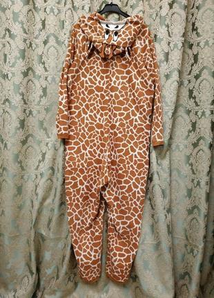 Флисовая пижама слип кигуруми человечек для дома для сна с карманами жирафик англия
