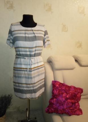 Натуральное моделирующее платье, вискоза, дресс код, офисный стиль, полоска