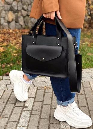 5 цветов! сумка классическая с широким ремешком черная базовая