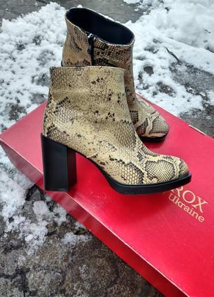Эксклюзив! ботинки ботильоны кожаные звериный принт змея питон на каблуке