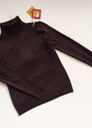Новый стильный гольф натуральная ткань шоколадный коричневый s-m