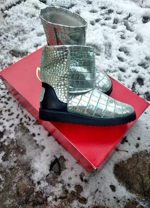 Эксклюзив! кожаные угги ботинки звериный принт змея крокодил