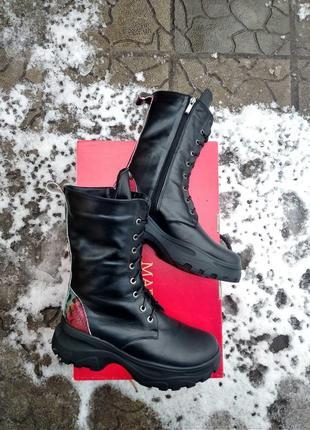 Кожаные ботинки берцы зимние и демисезонные звериный принт змея питон