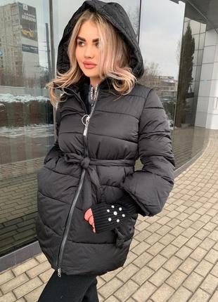 Тёплая куртка парка с вязаным рукавом пуховка