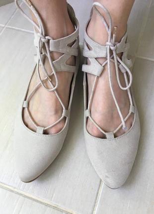 🎀 бежевые замш роскошные женственные балетки туфли graceland, оригинал🎁