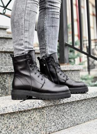 Кожаные ботинки сапоги обувь на зиму зимние ботинки