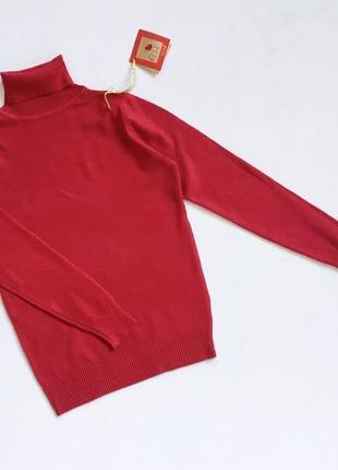 Новый стильный гольф   натуральная ткань цвет темно-красный размер s-m