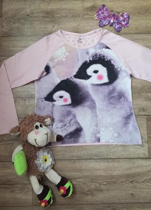 Качественный  реглан\кофта для сна с пингвинами, на 9\10 лет