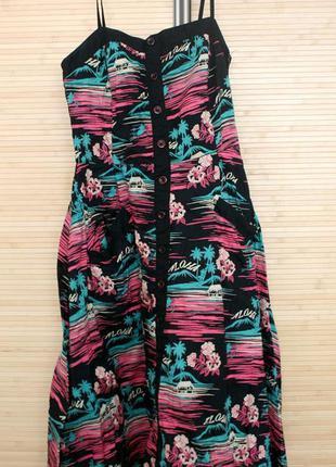 Стильный сарафан с пальмами, с карманами, пышная юбочка