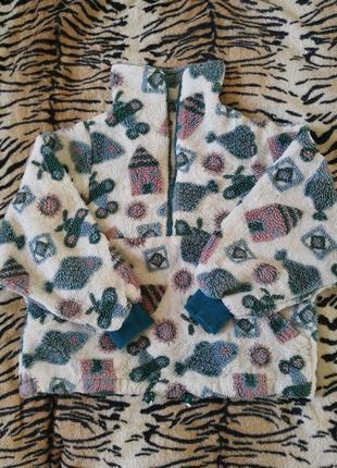 Новогодняя домашняя кофта, тёплая, оверсайз, махровая, свитер