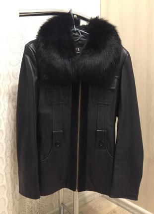 Кожаная курточка с натуральным мехом!