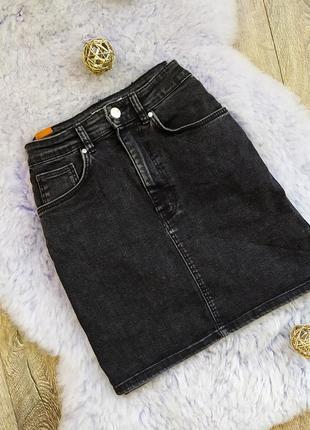 Джинсовая юбка зара серая высокая посадка