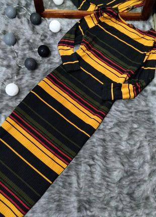 Платье свитер в полоску из трикотажа в рубчик george