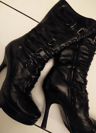 Кожаные зимние ботинки на меху натуральная кожа