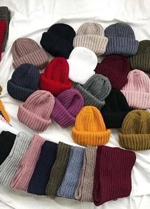 Теплый комплект шапка и снуд в два оборота, много цветов