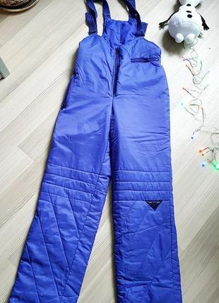Лыжный дутый яркий полукомбинезон штаны brugi италия
